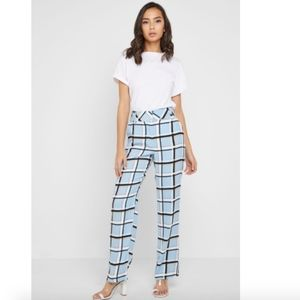 Topshop Checked Print Pant Size 8